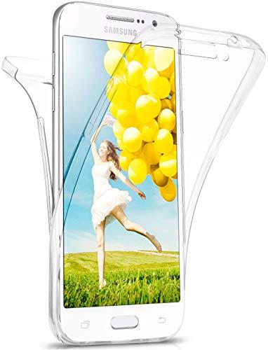 moex Double Hülle für Samsung Galaxy Grand Prime - Hülle mit 360 Grad Schutz, Silikon Schutzhülle, vorne & hinten transparent, Clear Cover - Klar