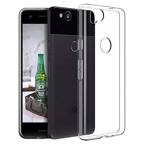 Google Pixel 2 Clear Case Slim Thin Silicone Soft Skin TPU Shock Absorption/Scratch Resistant Flexible Gel Rubber Protective Case Cover for Google Pixel 2 (Crystal Clear)