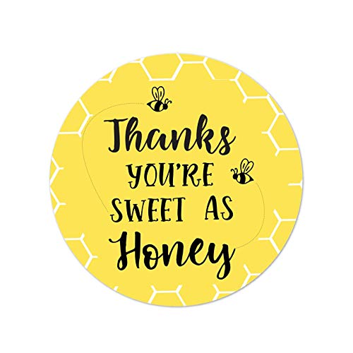 Andaz Press Busy Little Bee Black and Yellow Baby Shower Birthday Party Collection, Round Circle Label Stickers, Thanks You're Sweet as Honey, 40-Pack