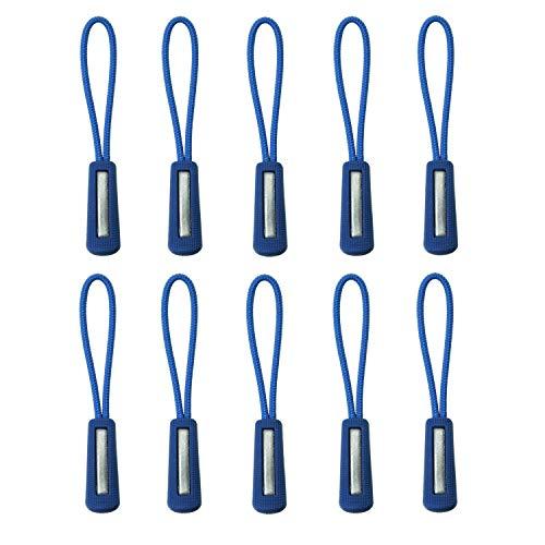 Loople ジッパープル 反射材付き ファスナー チャック 楽々 開閉 取り付け簡単 つかみやすい ノンスリップ ジッパータブ プルコード 5カラー 各10本セット (ブルー)