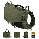 PET ARTIST Tactical Dog Harness for Hiking Training, No Pull Vest Harness for Medium Large Dogs, with Pouches and Patches (XL:Chest:31-39',Backlength:16.5', Green)