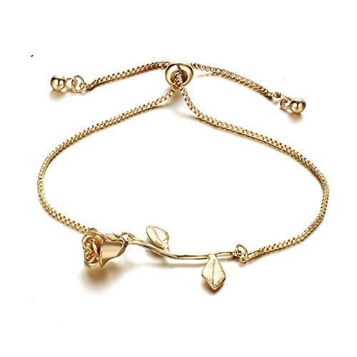 Aisoway Rosen-Blumen-Charme-Armband-justierbare Anhänger-Armband für Frauen 1pc