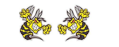 Böse Biene Angry Bee Hornisse Wespe Hornet Aufkleber Sticker / Plus Schlüsselringanhänger Kokosnuss-Schale / Auto Motorrad Notebook Skidoo Surfboard Racing Motorsport (2 Aufkleber 14.5x16cm)