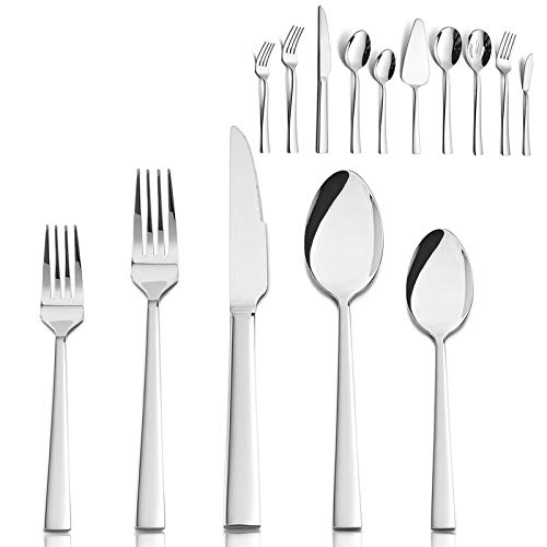 45 Pieces Silverware Flatware Set for 8, HaWare Sturdy Stainless Steel Eating Utensils with Knife Fork Spoon Hostess Tableware, Modern Elegant Ergonomic Design, Dishwasher Safe