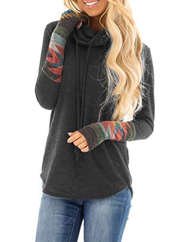 Minclouse Damen Tunika Tops mit Wasserfallausschnitt, langärmelig, Azteken-Druck, lässige Sweatshirts, niedliches Patchwork-Bluse, Pullover - mehrfarbig - Medium