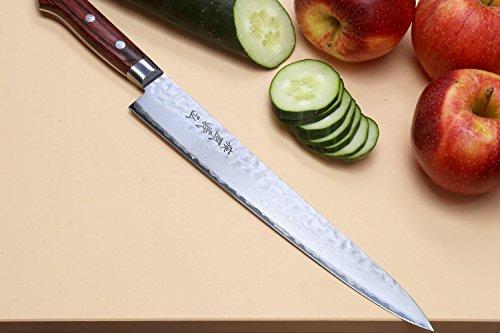 Yoshihiro Cutlery Hammered Damascus Sujihiki Chef Knife, 9.5-Inch