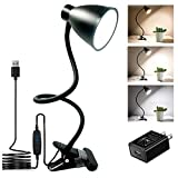 BOHON Clamp Lamp Reading Light 3 Color Modes 10 Brightness Dimmer Bedside Lamp 10W 38 LED Desk Lamp with Auto Off Timer 360° Flexible Gooseneck Clip on Light for Bed, AC Adapter Include