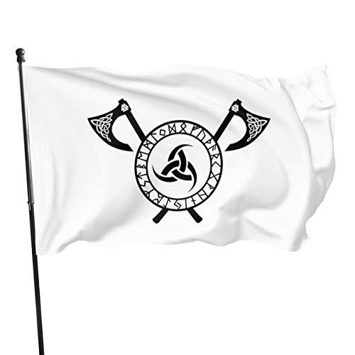 ioejhkjk 2 Stück Huginn Muninn Odin Thor Wikinger Norse Wolf Rabe Runen Fahnen Polyester Banner Flaggen 7,6 x 12,7 cm, Polyester, Schwarz , Einheitsgröße