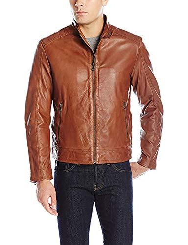 Cole Haan Men's Washed Vintage Leather Stand Collar Jacket-Cognac-L