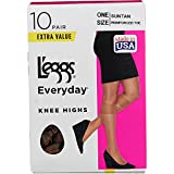 L'eggs womens 10 Pair Everyday Reinforced Toe Knee Highs Pantyhose, Tan, One Size US