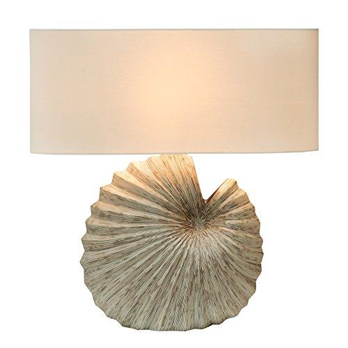 Filigrane Design Tischleuchte DREAM mit Fuß aus Keramik Muschel Tischlampe mit weißem Leinen Schirm Lampe Leuchte