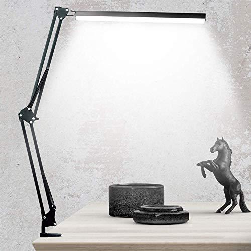 Salandens Lámpara de escritorio LED, lámpara de brazo oscilante de metal, brillo ajustable infinito, lámpara de mesa regulable que cuida los ojos, operación con un solo botón, función de memoria