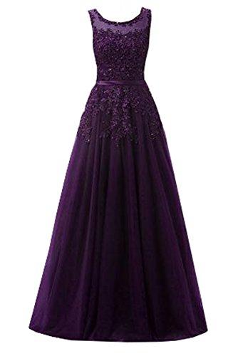 Ever Love A-Linie Lang Spitze T¨¹ll R¨¹ckenfrei Abendkleid Ballkleid Hochzeit Brautjungfernkleid mit Träger-Farbe: Trauben, Gr. 52