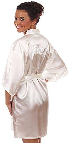 Braut Bademantel, BRIDE, mit Strasssteinen, Glitzer, Gr. 36-42, weiß, Satin, Morgenmatel glänzend, kurz Hochzeit Geschenk Hochzeitsgeschenk