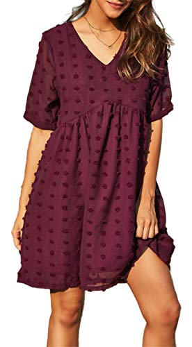 GRACE KARIN Women's Summer Mini Dress Casual Short Sleeve V Neck Swiss Dot Dress Flowy A Line Babydoll Short Dresses (Wine-A, Small)