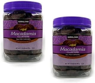 Kirkland Signature Macadamia Clusters Salted Caramel Milk Chocolate JAR - 2 Pack of 2 Lb (32 Oz) Each JAR