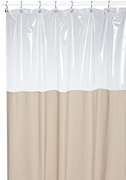Carnation Home Fashions Antibacterial 72 by 72-Inch Vinyl Window Shower Curtain Linen