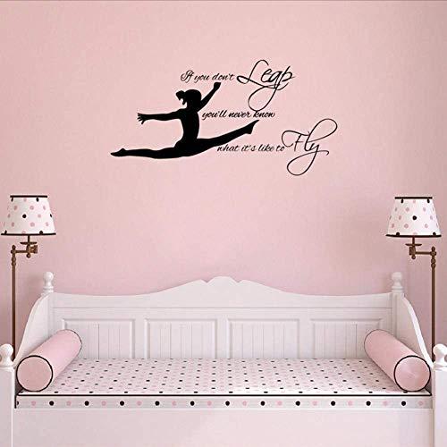 Turner Vinyl Wandkunst Aufkleber Aufkleber, Gymnastic Zitat Wandtattoos Wandbild Mädchen Schlafzimmer Dekoration 78 * 40Cm