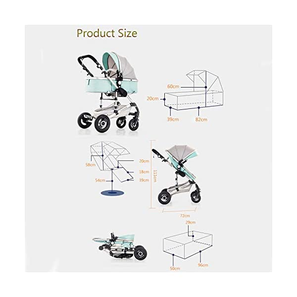 JINGQI Multifunctional Baby Stroller Two-Way Implementation of High-View, Sitting And Lying Shock-Absorbing Folding Children's Stroller, Applicable Age: 0~36 Months,Green JINGQI ✔ The push handle can be adjusted in multiple levels, high-quality linen fabric, stylish atmosphere, water absorption and dirt resistance, and UV protection; bold and thick aluminum alloy frame, waterproof and rustproof; three-sided mesh ventilation, breathable, refreshing ✔ Triple shock absorber: front wheel built-in spring shock absorber, wear-resistant EVA rear wheel, independent frame shock absorber, good shock absorption effect, good grip, strong shock absorber at the root of the frame, durable And good flexibility ✔Exquisite design, better safety performance: one-button release of the seat belt, the armrest can be opened, the rear storage bag, the enlarged storage basket, the non-slip thickened pedal 2