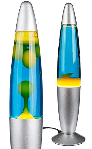 Lavalampe Glühbirne Lavaleuchte Magmaleuchte Retrolampe Lava Leuchte Motion Rocketleuchte Retroleuchte Deko Lampe (gelb/blau)