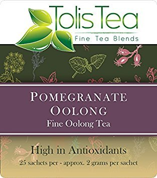 Tolis Tea Pomegranate Oolong Tea, Fine Oolong Tea, High In Antioxidants, - Premium whole leaf pyramid tea sachet bags - All natural Ingredients, 25 Silk Sachets