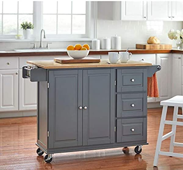 Kitchen Islands On Wheels Drop Leaf Utility Cart Mobile Breakfast Bar With Storage Drawers Towel And Spice Rack Bundle Includes Bonus Kitchen Conversion Chart Magnet From Designer Home Dark Gray