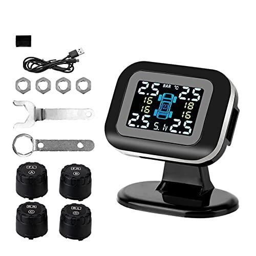 ZHUJUNWEN Sistema de monitoreo de presión de neumáticos de mini coche Sistemas de alarma de seguridad automática con 4 piezas de sensor externo inalámbrico