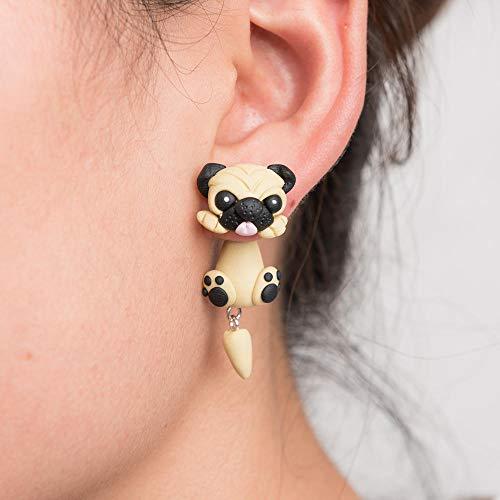 HBHBS Handgemachte Polymer Clay Weiche Nette Sharpei Mops Hund Ohrringe Für Frauen Mädchen Mode Cartoon 3D Tier Piercing Ohrstecker