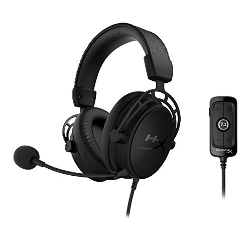 HyperX Cloud Alpha S - Gaming Headset, für PC, PS4, 7.1 Surround Sound, einstellbarer Bass, Dual Chamber Drivers, Chat Mixer, atmungsaktives Kunstleder, Memory-Schaum, Mikrofon