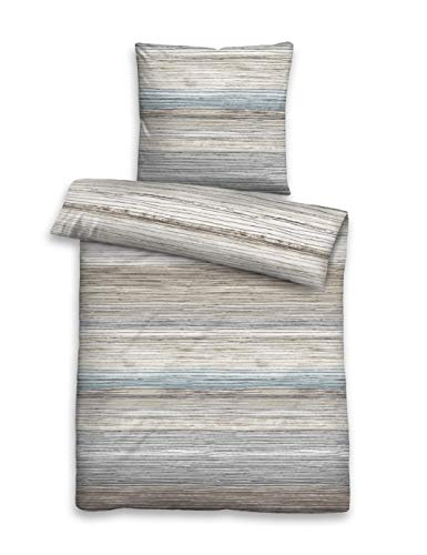 biberna 0006743 Bettwäsche Garnitur mit Kopfkissenbezug Komfort-Feinbiber 1x 155x220 cm + 1x 80x80 cm taupe