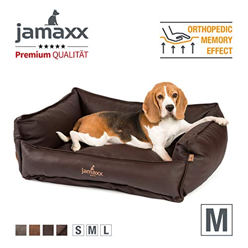 JAMAXX Premium Leder-Sofa Orthopädische Memory Visco Füllung, Hohe Seitenränder, Hunde-Couch mit Kunstleder Bezug, Reißverschluss, Hundebett PDB2019 (M) 90x70 nut, nuss/braun