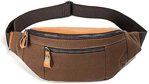 HUAIX Home Sac de Taille pour Homme Sac de Poitrine Sports de Plein air épaule Décontracté sac Messenger sac à dos (marron)