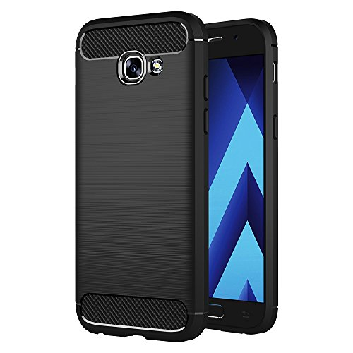 AICEK Funda Samsung Galaxy A3 2017, Samsung A3 2017 A320F/A320FL Funda Negro Gel de Silicona Galaxy A3 2017 Carcasa Fibra de Carbono Funda para Samsung A3 2017 4,7 Pulgadas
