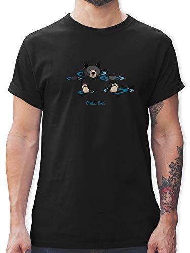 Typisch Männer - lustiges Bärenmotiv Chill Bro - 3XL - Schwarz - bären-Shirt, Motive-t-Shirt - L190 - Tshirt Herren und Männer T-Shirts