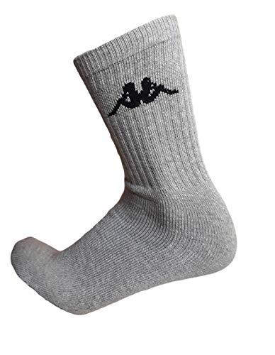 Kappa . 6/12 paia calze calzini, calzini sportivi in spugna, altezza metà polpaccio,calzini tennis,calzini trekking per uomo e donna,vari assortimenti (36-38, 6 paia GRIGIO)