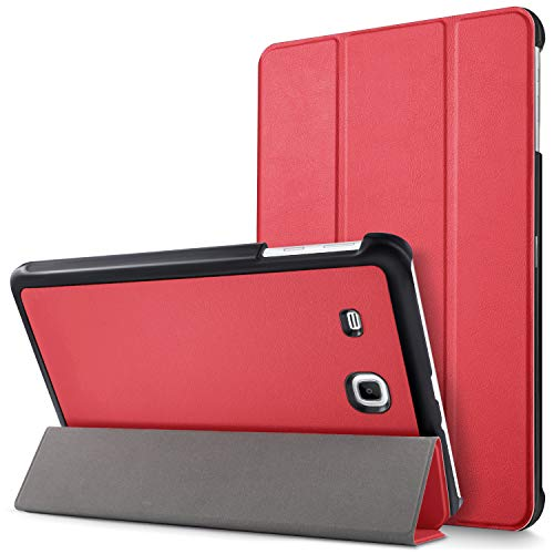 Mama Mouth Samsung Galaxy Tab E 9.6 Slim Shell Case, Ultra Slim Lightweight 3-folding PU Leather Standing Cover For 9.6' Samsung Galaxy Tab E 9.6 T560 T561 Android Tablet,Red