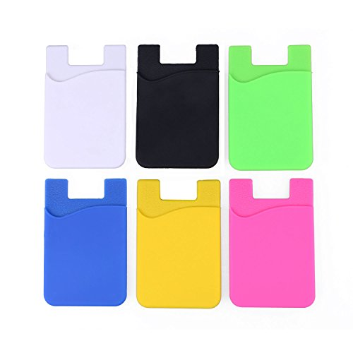 Phone Pocket Card Holder Wallet Sticker - Adhesive Stick On Back Silicone ID Credit Card Case Pouch Sleeve Compatible with iPhone Samsung Galaxy Android Cell Phone - 6 Color Pack