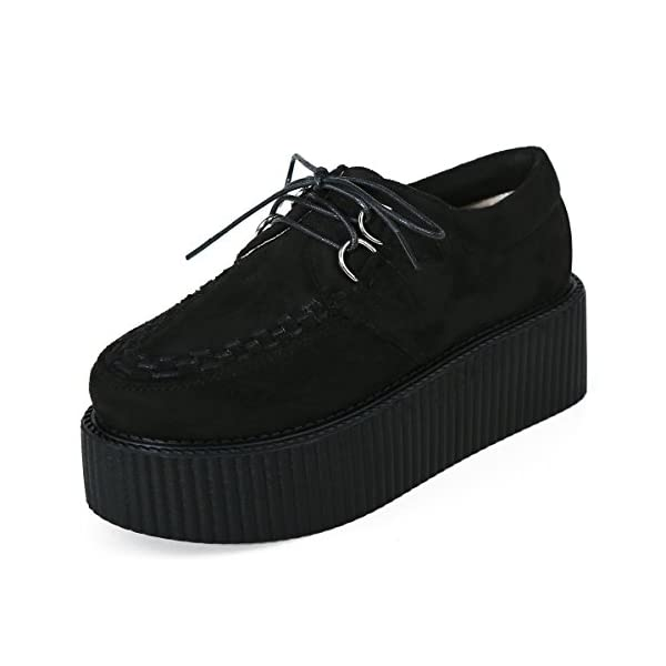 RoseG Women's Creepers Suede Platform Flats Oxford Punk Casual Shoes