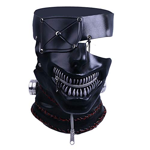 JCvCX Film Style Tokyo Ghoul Mask Kaneki Ken Costume Cosplay Helmet Props with 3D Techology PU Leather Masque Black