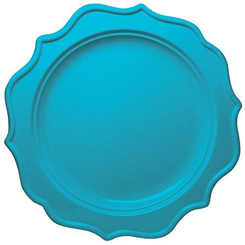 Decorline- Piatti Cena 24cm Color Turchese -Stoviglie plastica-USA e Getta - 12 Pezzi - Festive Collection