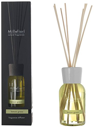 Millefiori 7MDLG Lemon Grass Raumduft Diffuser 100 ml Natural inklusive hochwertiger Balsaholzstäbchen, Plastik, Gelb, 6.8 x 25.8 x 6.6 cm