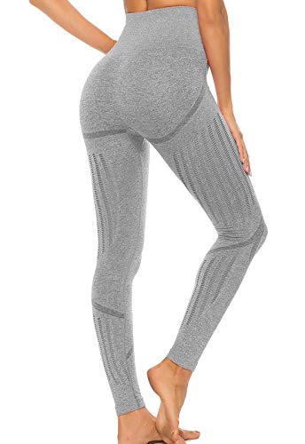 FITTOO Leggings Sin Costuras Corte de Malla Mujer Pantalon Deportivo Alta Cintura Yoga Elásticos Fitness Seamless Gris-2 Small
