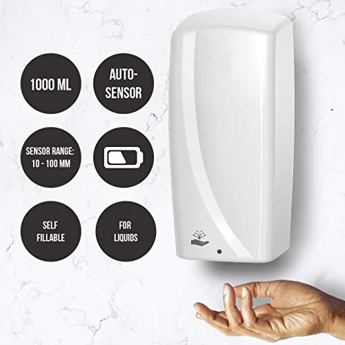 Rulopak Desinfektionsmittel Spender Desinfektionsspender Sensor Touchless weiß, 1000ml für flüssige Desinfektionsmittel, automatisch, batteriebetrieben (AA, Nicht enthalten), Wandmontage