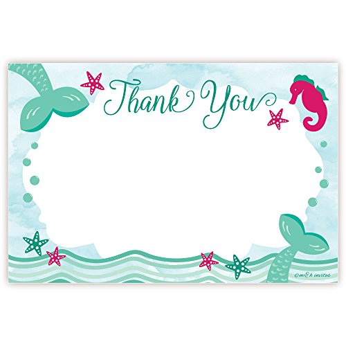 Mermaid Birthday Thank You Cards (20 Count)