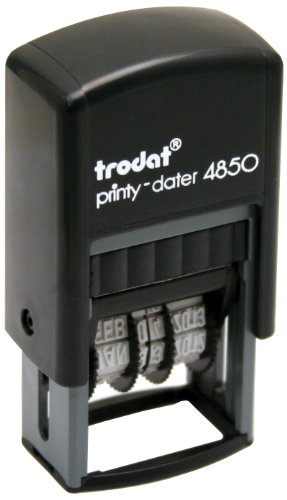 Trodat Printy Economy Self-Inking 5-in-1 Micro Message Stamp, Dater, PAID/RECEIVED/FAXED/EMAILED with DATE, Impression: 1' x 3/4', Blue/Red (E4850L)