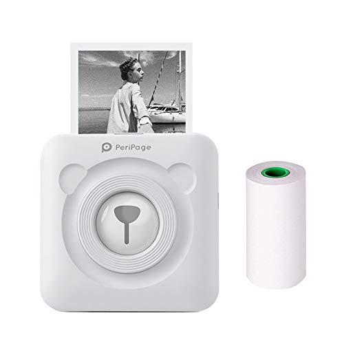 JEPODOR PeriPage Mini Portable Bluetooth Wireless Paper Photo Printer Pocket Thermal Printing USB Connection Impresoras Fotos (White)