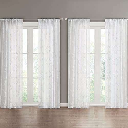 SCM Gardinen Schals mit Tunnelzug Voile Vorhänge Schlafzimmer Wohnzimmer Transparent Vorhang mit Karo Motiv für große Fenster Chadwick Weiß, lang (2er-Set, je 245x140cm)