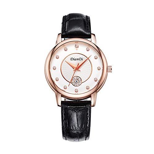 CXJC Reloj de cuarzo juvenil de moda, reloj multifunción de calendario impermeable 3ATM, estuche de acero inoxidable PU +, una variedad de colores disponibles (Color : Negro)