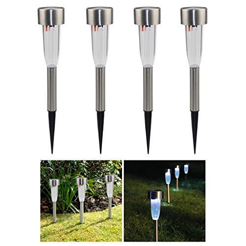 JLXW Tuinverlichting buitenshuis LED RVS zonnelampen waterdicht landschap decorverlichting eenvoudige installatie zonne-pad lichten voor gazon patio