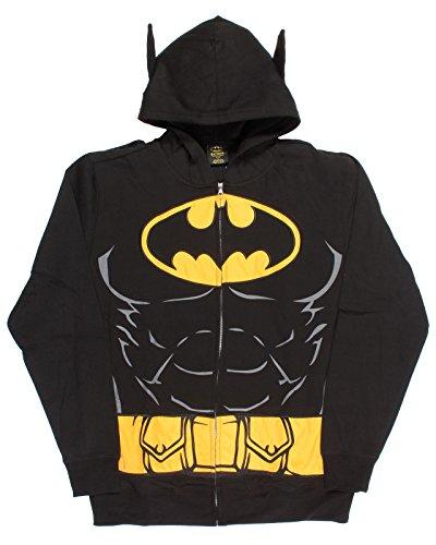 DC Comics Batman Suit Up Hoodie with Cape Mens Hoodie,Black,Medium